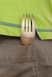 De vork ligt in zak royalty-vrije stock afbeelding
