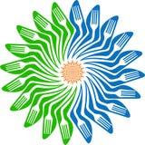 De vorkembleem van de bloem Stock Foto