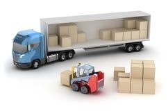 De vorkheftruck laadt de vrachtwagen Royalty-vrije Stock Foto's