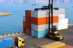 De Vorkheftruck van de container Stock Foto's
