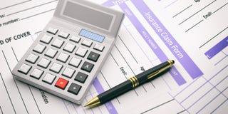 De vorm en de calculator van de verzekeringseis 3D Illustratie Stock Afbeelding