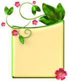 De vorm met doorbladert en rode bloemen Stock Afbeeldingen
