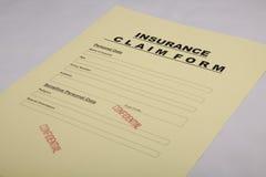 De Vorm van de Eis van de verzekering Stock Foto