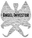 De vorm van de het woordwolk van de engeleninvesteerder Stock Foto