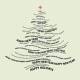 De vorm van de kerstboom van woorden Stock Foto