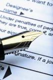 De vorm van de pen en van de belasting Stock Fotografie