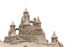 de vorm van het beeldhouwwerkkasteel die met strandzand wordt gemaakt Stock Afbeeldingen