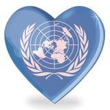 De vorm van het de vlaghart van de Verenigde Naties Stock Foto