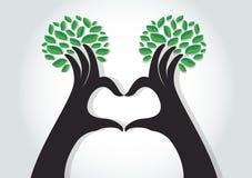 De vorm van het handenhart met bladeren, aardminnaars, de Dag van het Wereldmilieu Stock Fotografie