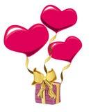 De vorm van het hart baloon en gift Stock Foto's