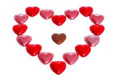 De vorm van het hart die met chocolade wordt gemaakt. stock fotografie