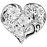 De vorm van het hart die van bloemen wordt gemaakt Stock Foto