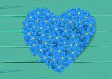 De vorm van het hart die van vergeet-mij-nietje wordt gemaakt Royalty-vrije Stock Afbeelding