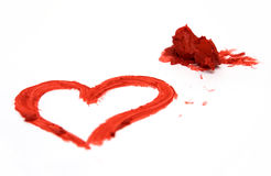 De Vorm van het hart en Rode Lippenstift Royalty-vrije Stock Fotografie