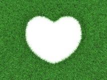 De vorm van het hart in groen gras Stock Afbeeldingen