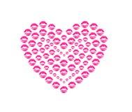 De vorm van het hart het kussen lippen Royalty-vrije Stock Afbeeldingen