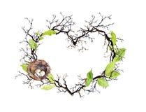 De vorm van het hart Vogelsnest, takken, de lentebladeren Waterverf bloemenkroon voor huwelijk, de lentekaart royalty-vrije illustratie