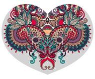De vorm van het kanthart met het etnische bloemenontwerp van Paisley voor Valentine Stock Afbeeldingen