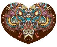 De vorm van het kanthart met het etnische bloemenontwerp van Paisley voor Valentine Royalty-vrije Stock Afbeeldingen