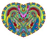 De vorm van het kanthart met het etnische bloemenontwerp van Paisley voor Valentine Royalty-vrije Stock Afbeelding