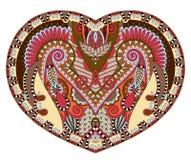 De vorm van het kanthart met het etnische bloemenontwerp van Paisley voor Valentine Stock Foto's