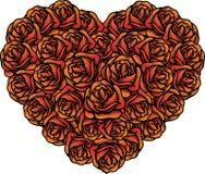 De vormbos van het hart van rozen voor Valentijnskaarten vector illustratie