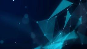 De vormen, de punten en de lijnen zijn connectied met glanzen op vage achtergrond animatie Het zoemen samenstelling 4K stock illustratie