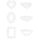 De vormen van de diamant: Hart - Marquise - Smaragd Stock Foto