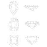 De vormen van de diamant: Peer - Stralend Kussen - Royalty-vrije Stock Afbeeldingen