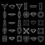 De vormen van de inzameling van diamant op zwarte achtergrond Royalty-vrije Stock Foto's