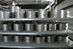 De vormen van de kaas in moderne zuivelfabriek Royalty-vrije Stock Foto