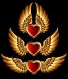 De vormen van het hart met gouden vleugels Stock Afbeelding