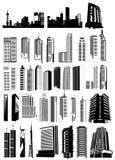 De vormenvector van gebouwen Stock Afbeeldingen