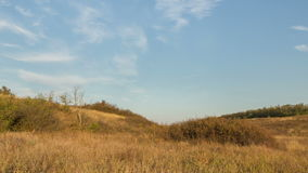 De vorming en de beweging van wolken over de herfst eindeloze groene gebieden van gras in de enorme steppen van Don stock footage