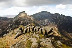 De vorming van de rots op Goatfell stock fotografie
