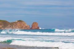 De vorming van de toppenrots, Kaap Woolamai Stock Foto