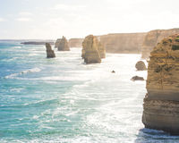 De vorming van de twaalf Apostelenrots in de oceaan langs de Grote Oceaanweg, Victoria, Australië Royalty-vrije Stock Fotografie