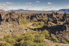 De vorming van rotsen op gebied Dimmuborgir - IJsland. Royalty-vrije Stock Foto