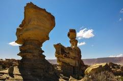 De vormingen van de Ischigualastorots in Valle DE La Luna, Argentinië royalty-vrije stock foto's