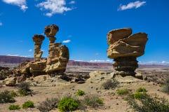 De vormingen van de Ischigualastorots in Valle DE La Luna, Argentinië royalty-vrije stock afbeelding