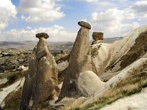 De Vormingen van de rots in Cappadocia, Turkije royalty-vrije stock foto