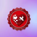 De Vormpictogram van het cupidohart op Violet Background Valentines Day Concept wordt geïsoleerd die royalty-vrije illustratie