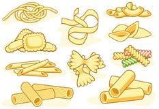 De vormpictogrammen van deegwaren Stock Afbeelding
