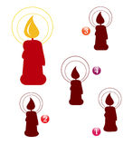 De vormspel van Kerstmis: kaars Stock Afbeeldingen
