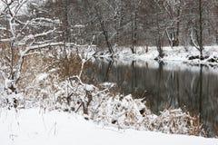 De vorst en de sneeuw, maar de rivier hebben nog niet bevroren stock foto's