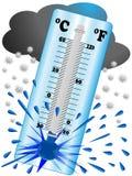 De vorst leidt tot een lage temperatuur zodat explodeert de thermometer stock foto