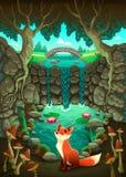 De vos dichtbij een vijver royalty-vrije illustratie