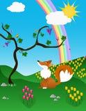 De vos en de regenboog Stock Afbeeldingen
