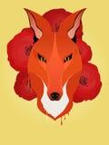 De vos en de rozen van de Hipsterstijl royalty-vrije illustratie