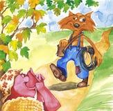 De vos van het varken en van de loodgieter Stock Foto